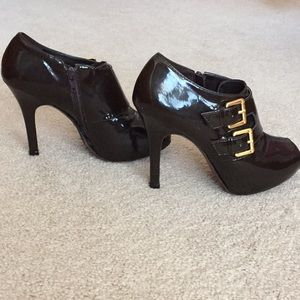 BCBG patent leather open toe booties